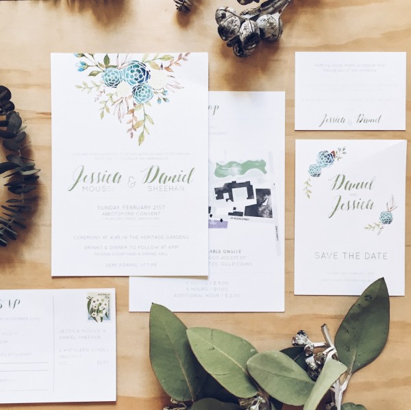 custom wedding stationary from the middle aisle